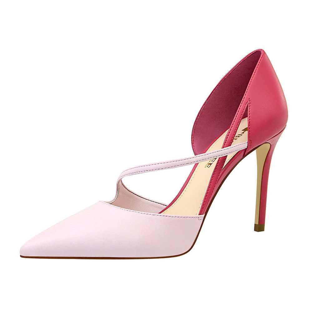 Kore tarzı moda tatlı yüksek topuk ayakkabı kadınlar yüksek topuklu sığ ağız sivri karışık renkler A hattı ince topuklu ayakkabılar
