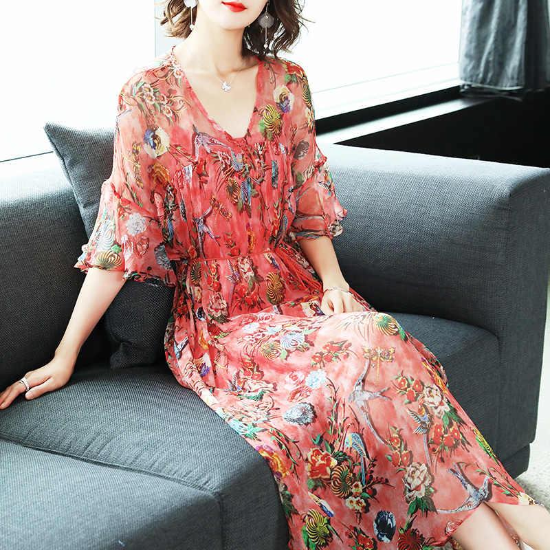Lato długa sukienka kobiety sukienka na plażę jedwabne sukienki vintage eleganckie damskie ubrania do biura Maxi Vestidos Verano LWL1548