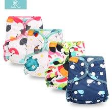 Happy Flute органический хлопок Новорожденные подгузники крошечные AIO ткань пеленки, водонепроницаемый PUL Fit 3-6 кг ребенка