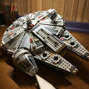 Lepinblocks 05007 star conjunto guerras série compatível lepining millennium modelo falcon spacespacial blocos de construção 75105 presente brinquedos