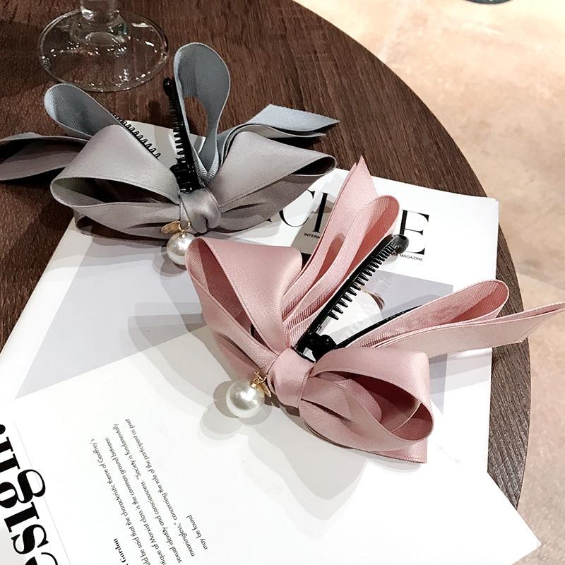 2020 New Korea Style Sweet Hairpin Cute Ribbon Bow Imitation Pearl Banana Hair Clip Women Fashion Hair Accessories