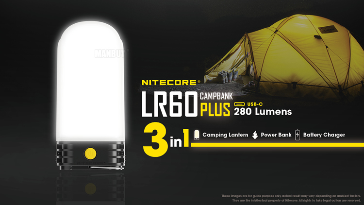 Nitecore lr60 lanterna recarregável de acampamento e