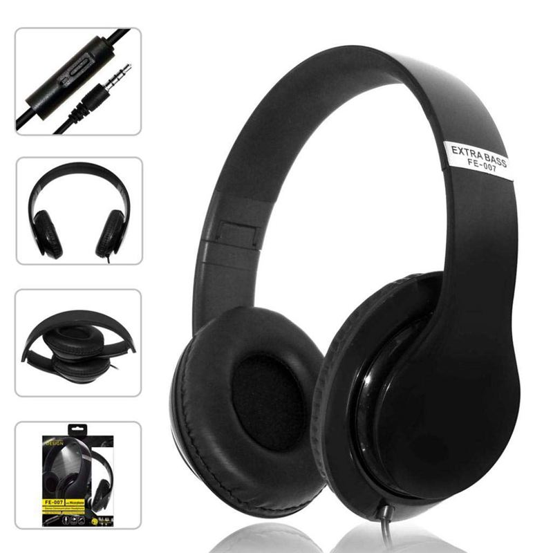 Kubite Aktive Noise Cancelling Wired Kopfhörer mit Mikrofon <font><b>Extra</b></font> <font><b>Bass</b></font> AUX Headset Über Ohr, FE-007 Stereo Headset <font><b>Extra</b></font> <font><b>Bass</b></font> image