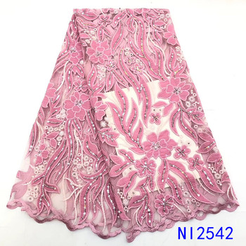 Baby Pink Velvet Lace African Lace Fabrics Wholesale Nigerian Tulle Mesh Lace Sequence Lace Fabric for Bridal Materials QFNI2542