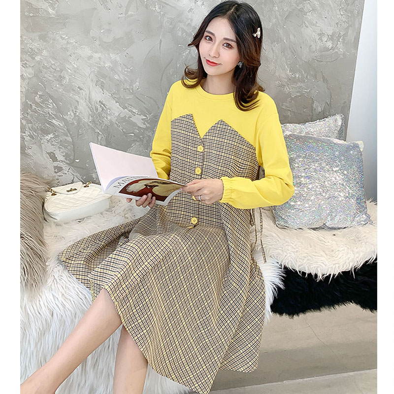 Autumn Winter Plaid Maternity Dresses For Pregnant Women Clothes Casual Long Sleeve Pregnancy Dress Vestidos Pregnant Clothing