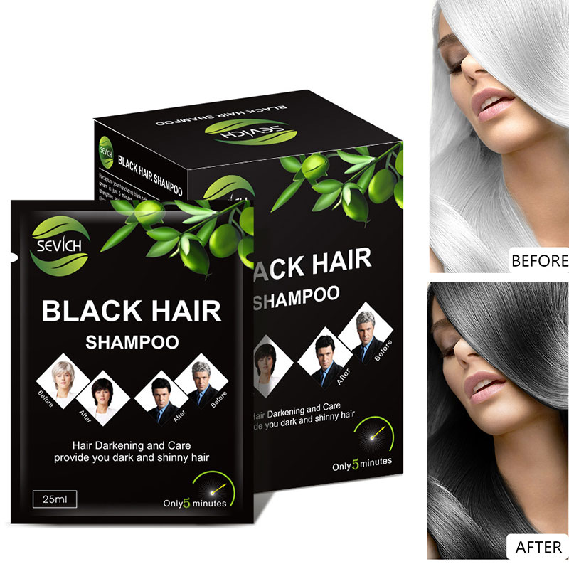 5pcs/lot Sevich Makeup Brand Black Hair Dye Only 5 Minutes Grey Hair Removal Dye Hair Coloring Hairstyle image