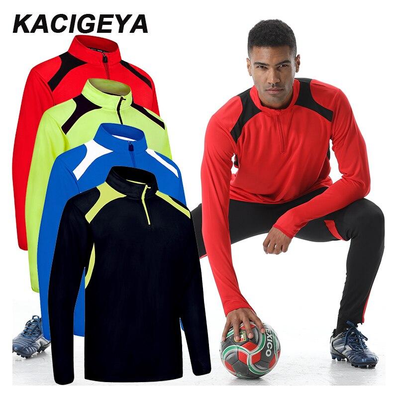 Camisetas de fútbol para hombre 2019 deporte manga larga fútbol S-4XL entrenamiento Jersey transpirable de secado rápido correr hombre correr gimnasio Tee