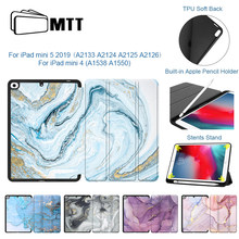 MTT carcasa para iPad Mini 4 Mini 5 7,9 ''2019 con portalápices TPU suave trasero PU cuero Flip soporte Smart Cover mármol Tablet Case(China)