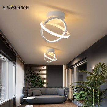 modern led ceiling lights 40 60cm for bedroom cloakroom ceiling lamp aisle corridor balcony lamps white black lighting fixture Modern Led Ceiling Light Corridor Light Small Black&White Chandelier Ceiling Lamp for Living room Bedroom Kitchen Balcony Lamps