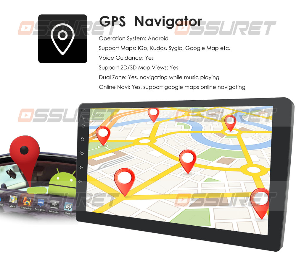 Android 10 Universal Car Stereo Radio GPS Navigation with 7 Inch Touch Screen Support Mirror-link Steering Wheel Control WiFi 4G DVR OBD2 DAB+