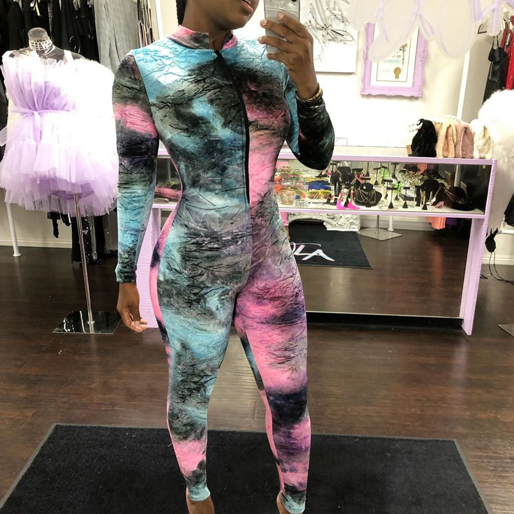 ANJAMANOR Tie Dye Print Sexy Jumpsuit Party Club Wear Front Zipper Long Sleeve Bodycon One Piece Romper Gym Clothing D41-AE84