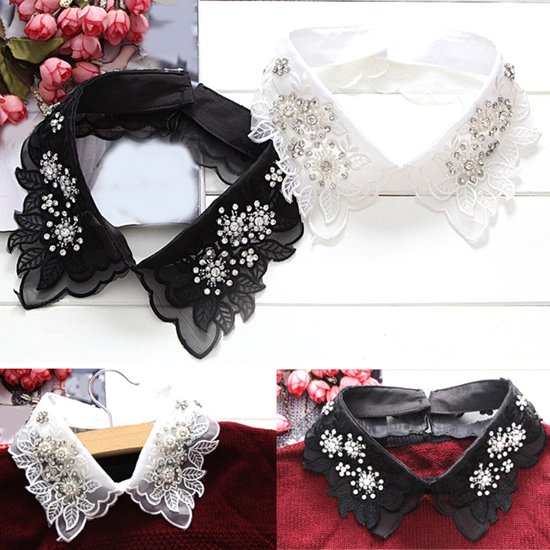 2019 New Korean Fashion Women Detachable Collars Crystal Pearls Shirt Detachable False Collar Shirts Sweater Fake Collar