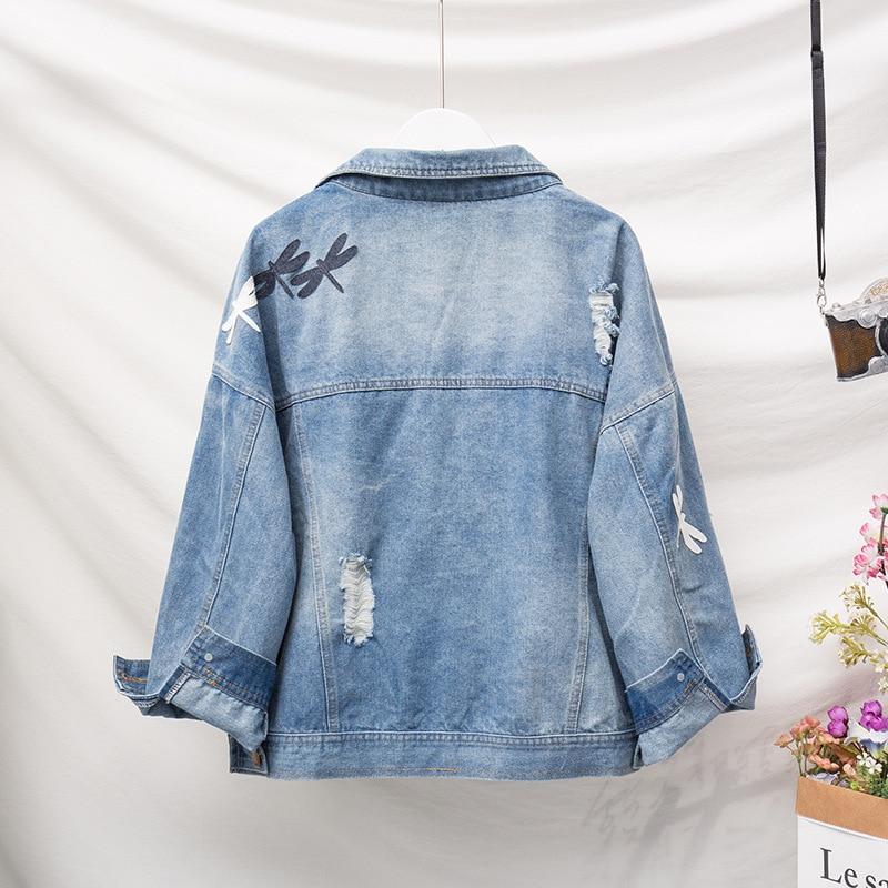 Jvcake Plus Size Women's Loose Cotton Denim Jacket Section Fashion Embroidery Pattern Lapel Blue 2020 winter Denim Coat Woman XL