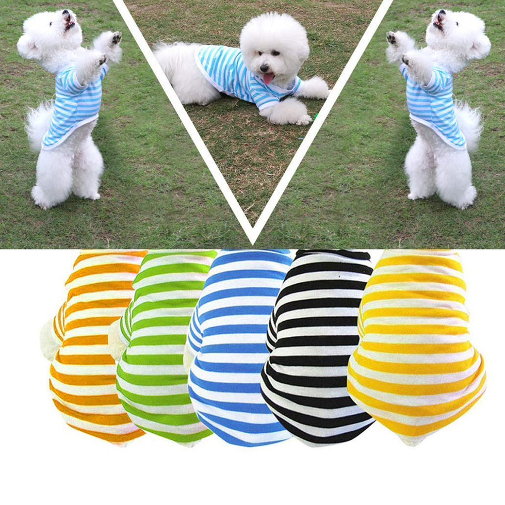 Summer Pet Dog Cat Striped T-Shirt Vest Short Sleeves Apparel Puppy Vests Blue Pink Stripe Cotton Clothing