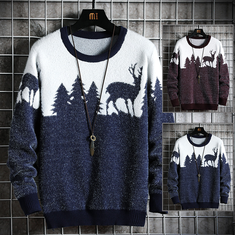 Men's Sweater Christmas-Theme Hot-Style Handsome New Multicolor Loose Trendy Optional