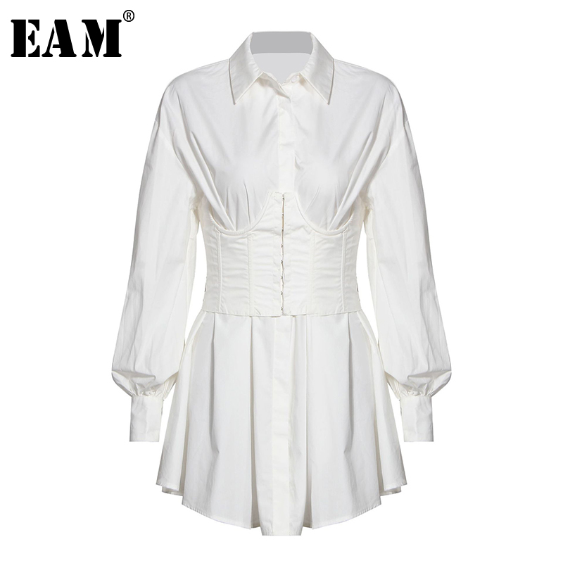 [EAM] Women White Big Size Bandage Two Piece Shirt Dress New Lapel Long Sleeve Loose Fit Fashion Tide Spring Summer 2020 1T922