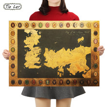 Game of Thrones Map Vintage Kraft Paper Poster Interior Bar Cafe Decorative Painting Wall Sticker 70X51cm(China)