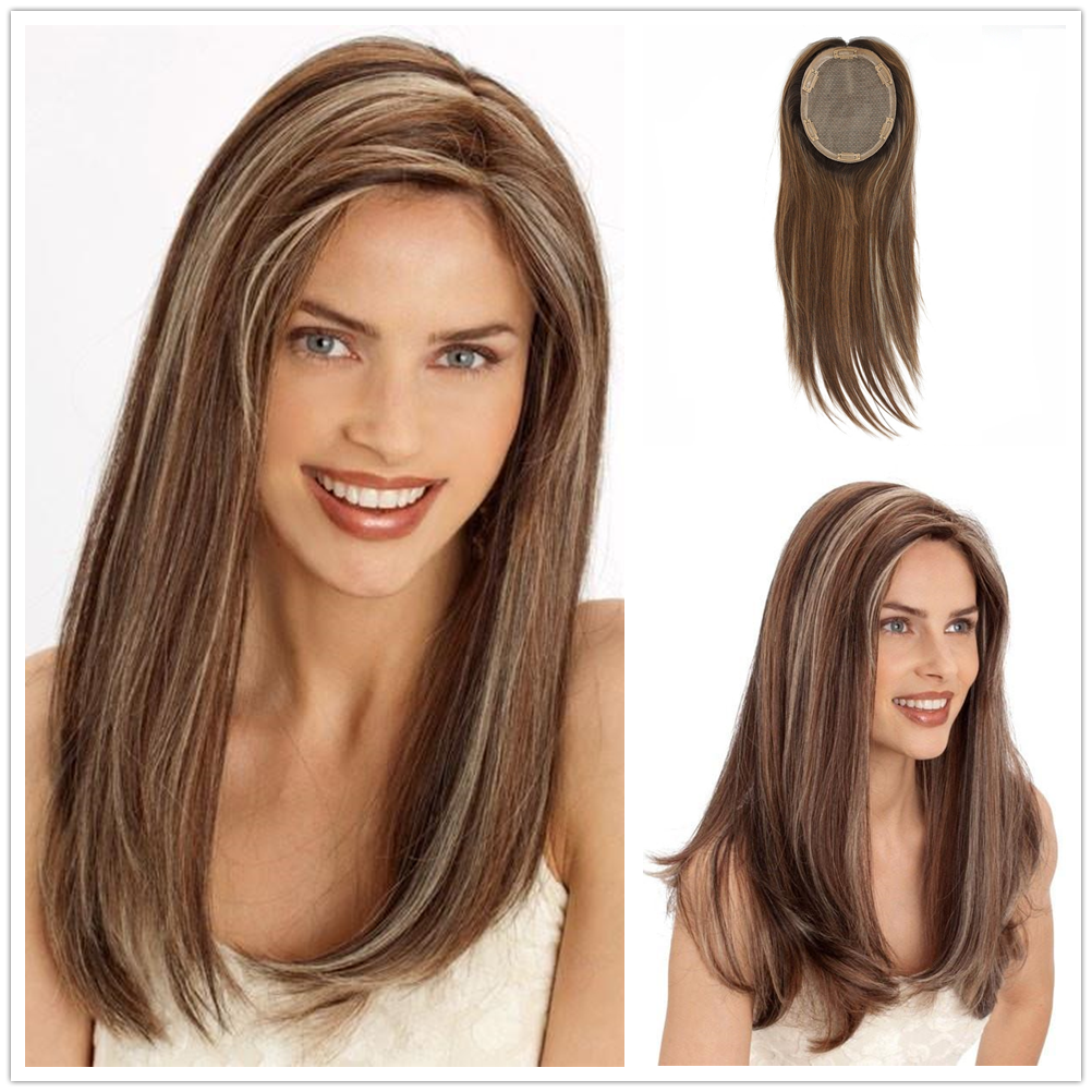 Hstonir Woman Hair System Silk 6x7 Base Human Hair Toppers For Women Postiche Naturel European Remy Hair With Clips TP30
