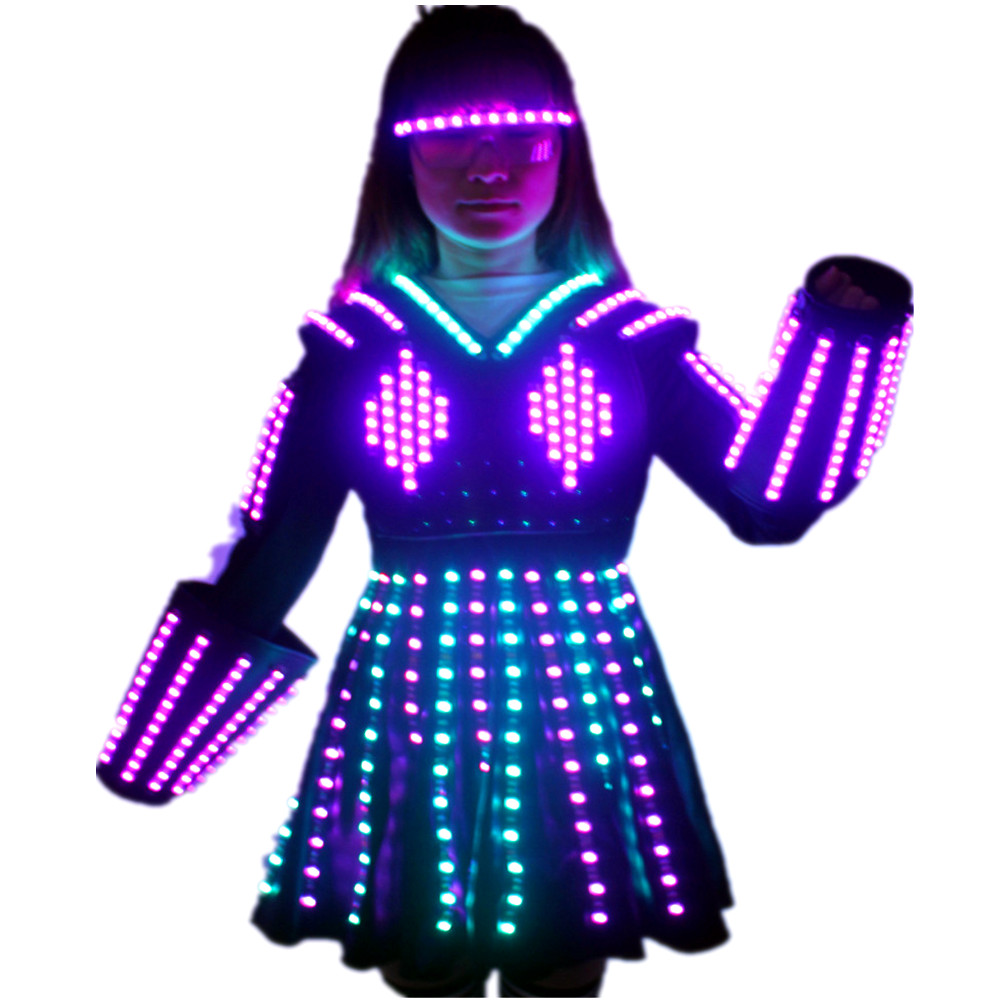 Модный брезентовый костюм робота со светодиодной подсветкой и лазерной перчаткой, свадебное платье, светящийся головной убор, короткая юбк