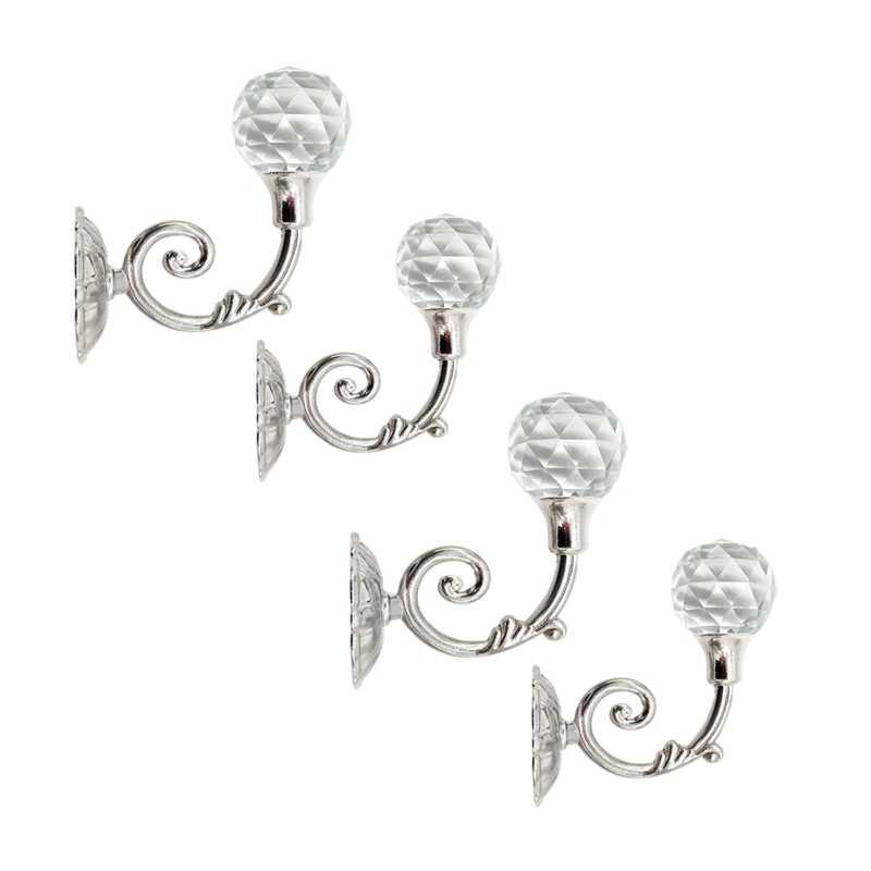 4Pcs Silver Crystal Metal Curtain Hold Backs Wall Hanger Hooks