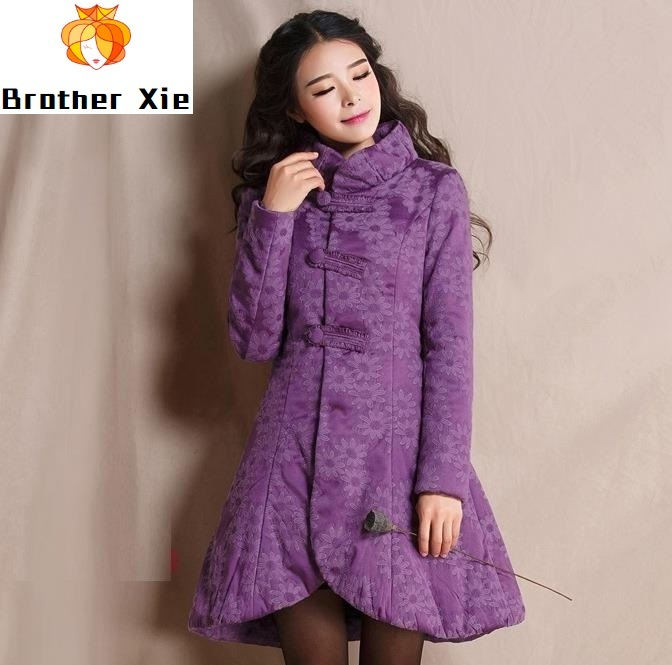 leisure printing cultivate morality show thin cotton-padded clothes long cotton-padded jacket coat in the cloud