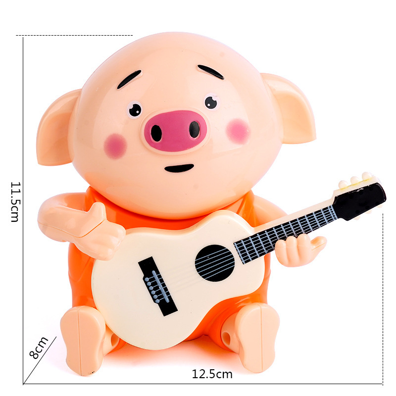Douyin Elastic-Guitar Of Piggy CHILDREN'S Guitar Pigskin Seagrass Pigskin GIRL'S And BOY'S Baby Electric Toys Gift