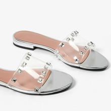 Flip-Flops Women Vacation Shoes Female Slippers Slides Rhinestones Transparent Low-Heel