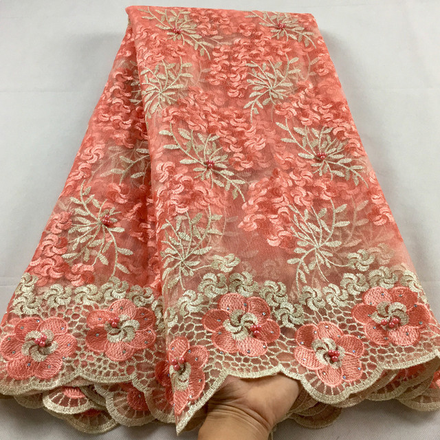 Nigerian Lace Fabric 2020 High Quality Lace Beaded Lace Fabric Wedding Pink African With Beads Nigerian French Lace Fabric LHX07