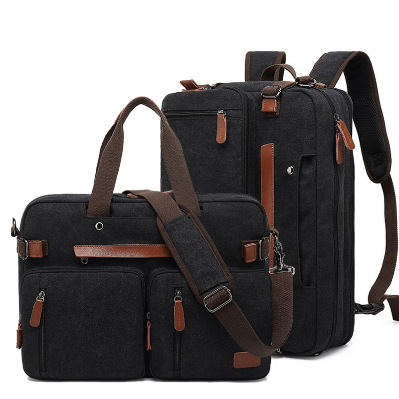 Men Canvas Work Bag Briefcase Travel Messenger Shoulder Bag Multifunction Tote Handbag Big Casual Business Laptop Pocket XA284ZC