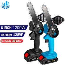 Newest 6 Inch Mini Electric Saw Chainsaw 18V For Fruit Tree Woodworking Garden Tools 1200W With Battery Hand Held Wood Cutters