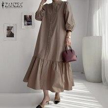 Fashion Women Summer Sundress ZANZEA Elegant Puff Sleeve Ruffles Hem Shirt Dress Casual Buttons Loose Vestido Party Dresses Robe