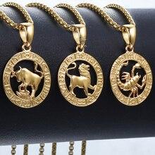 Мужские Женские 12 Знак зодиака золотой кулон ожерелье Aries Leo дропшиппинг 12 созвездий ювелирные изделия GPM24