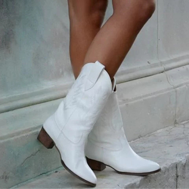 Damskie botki okrągłe Toe niskie kwadratowe obcas kobiet obuwie casual Western Cowboy rycerz kolana wysokie buty Botas Mujer Invierno 2020 nowy