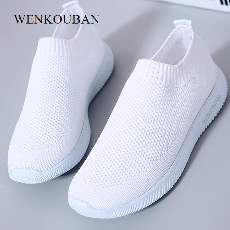 Women Spring Sneakers 2020 Summer Slip On Knitted Flats Casual Loafers Ladies Trainers Fashion Walking Footwear Zapatos De Mujer