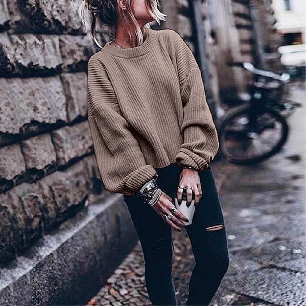 Cashmere Sweater Women Oversize For Women Warm Winter And Autumn Long Sleeve O-neck Solid Color Stylish Woolen Lantern