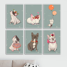 Cartoon French Bulldog Balloon Wall Art Print Canvas Painting Nordic Poster And Prints Pictures Kids Room Decor
