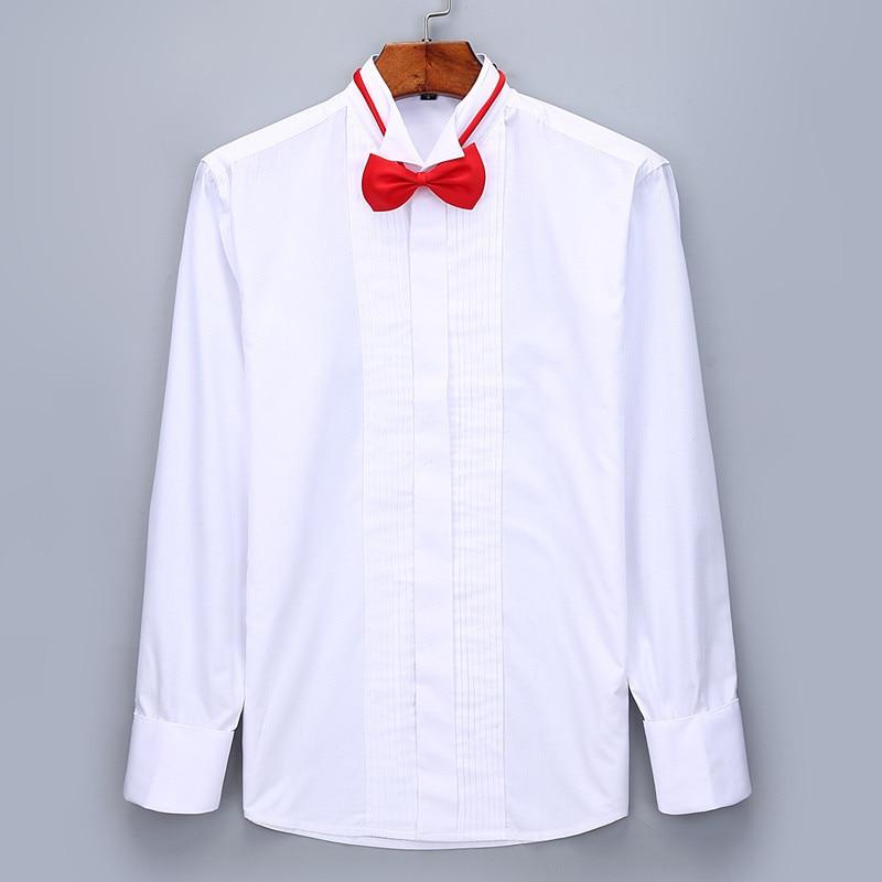 Image 2 - Men Wedding Tuxedo Long Sleeve Dress Shirts French cufflinks Swallowtail Fold Dark button design Gentleman shirt White Red BlackTuxedo Shirts   -