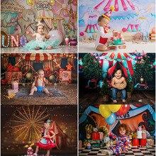 Mocsicka Circus Thema Achtergrond Voor Cake Smash Kinderen 1st Verjaardag Fotografie Achtergronden Fotostudio Props Decoraties