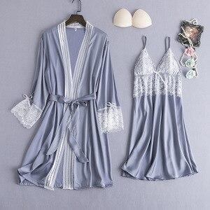 Image 3 - ブルゴーニュ女性パジャマ 2 個パジャマセットセクシーな V ネックのホーム服ナイトウェアレース花ローブガウン睡眠スーツネグリジェ