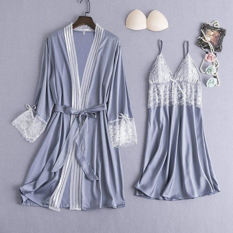 Image 3 - Burgundy Women Sleepwear 2pcs Pajamas Set Sexy V Neck Summer Home Clothing Nightwear Lace Flower Robe Gown Sleep Suit NegligeeRobe & Gown Sets   -