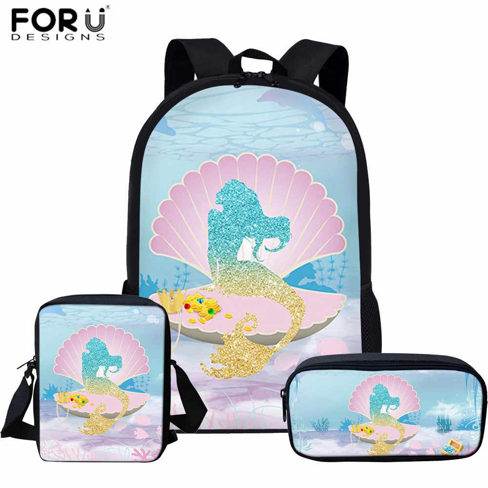 FORUDESIGNS Primary Student 3pcs School Bag 3D Mermaid Prints Backpack for Teenager Girls Cartoon Children Schoolbag Sets