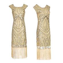 Вечернее платье в стиле ретро с блестками 1920 х короткое квадратным