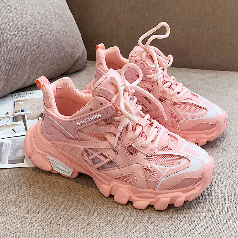 Woman Sneakers Women Chunky Vulcanized Female Comfort Ladies Breathable Pink Dad Shoes Women
