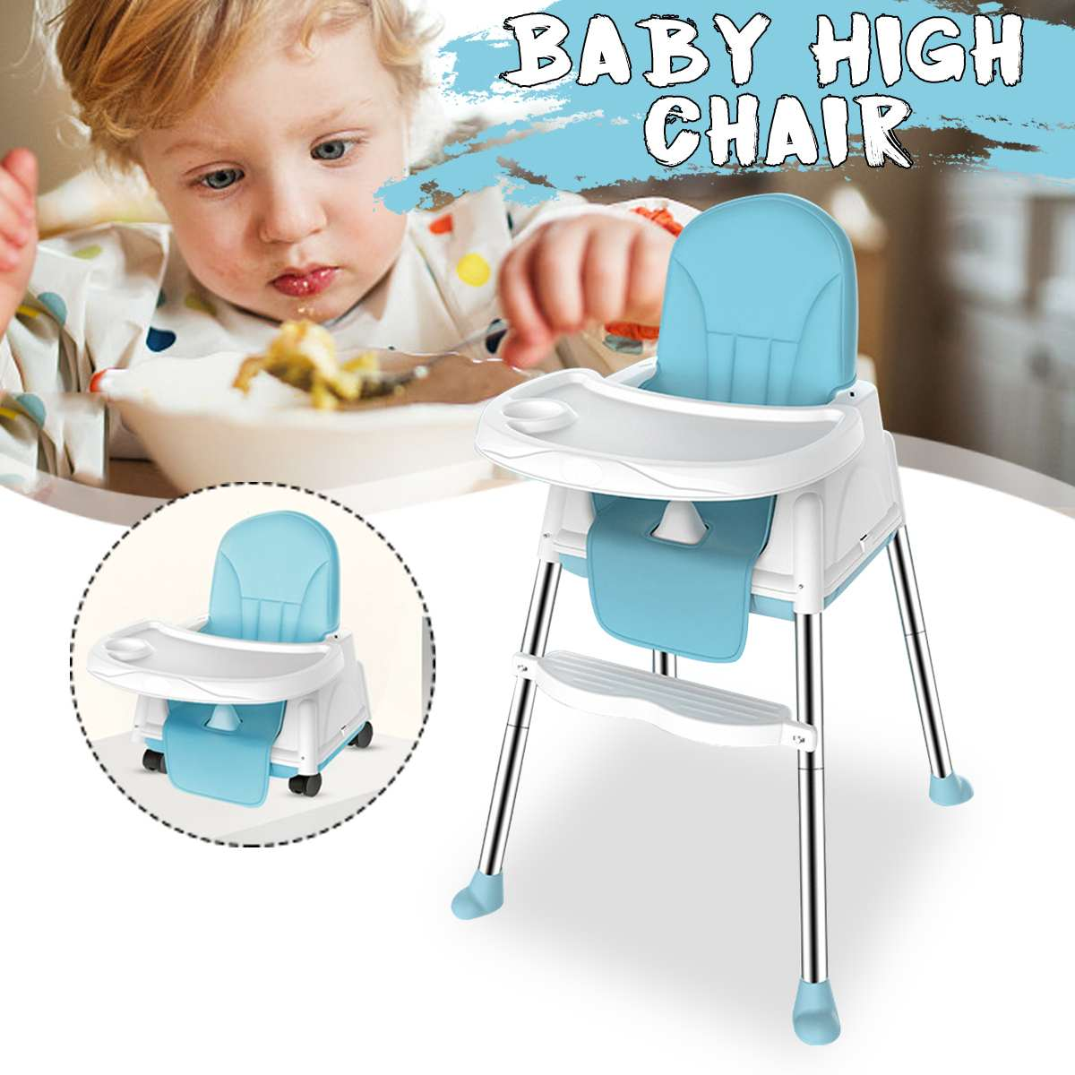 Multifunctional Baby High Chair Adjustable Kids Safety Dining High Chair Booster with Seat Wheels Cushion Foldable Baby Chair