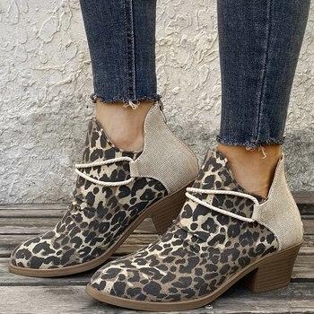 Vintage Women Ankle Boots Roman Leopard Boots Ladies Shoes Winter Boots Females Casual Botas de mujer Outdoor Ladies Shoes women martin boots ankle boots winter warm shoes female motorcycle ankle fashion boots botas feminina women botas mujer