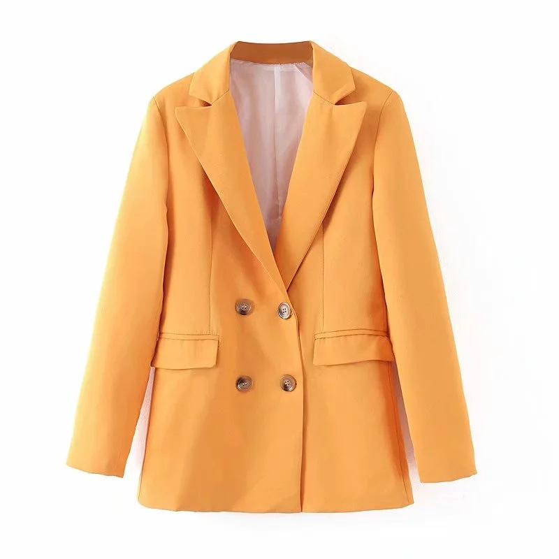 2019 new spring loose yellow color jacket suit female Temperament casual double-breasted women's blazer Office suit 4 colors
