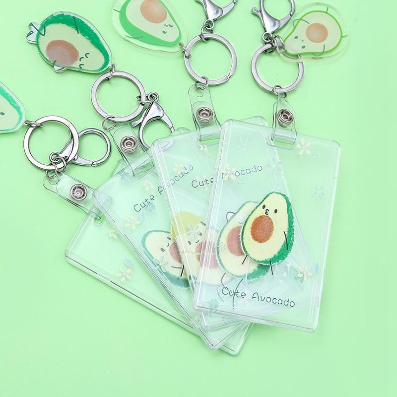 Women Men Business Card Holder Creative Fresh Avocado Credit Card Holders Bank ID Holders Badge Child Bus Card Cover Case