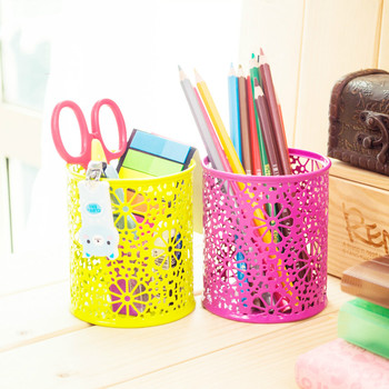 Multifunctional desktop office supplies patterned round pen container creative pencil holder storage box student stationery фото