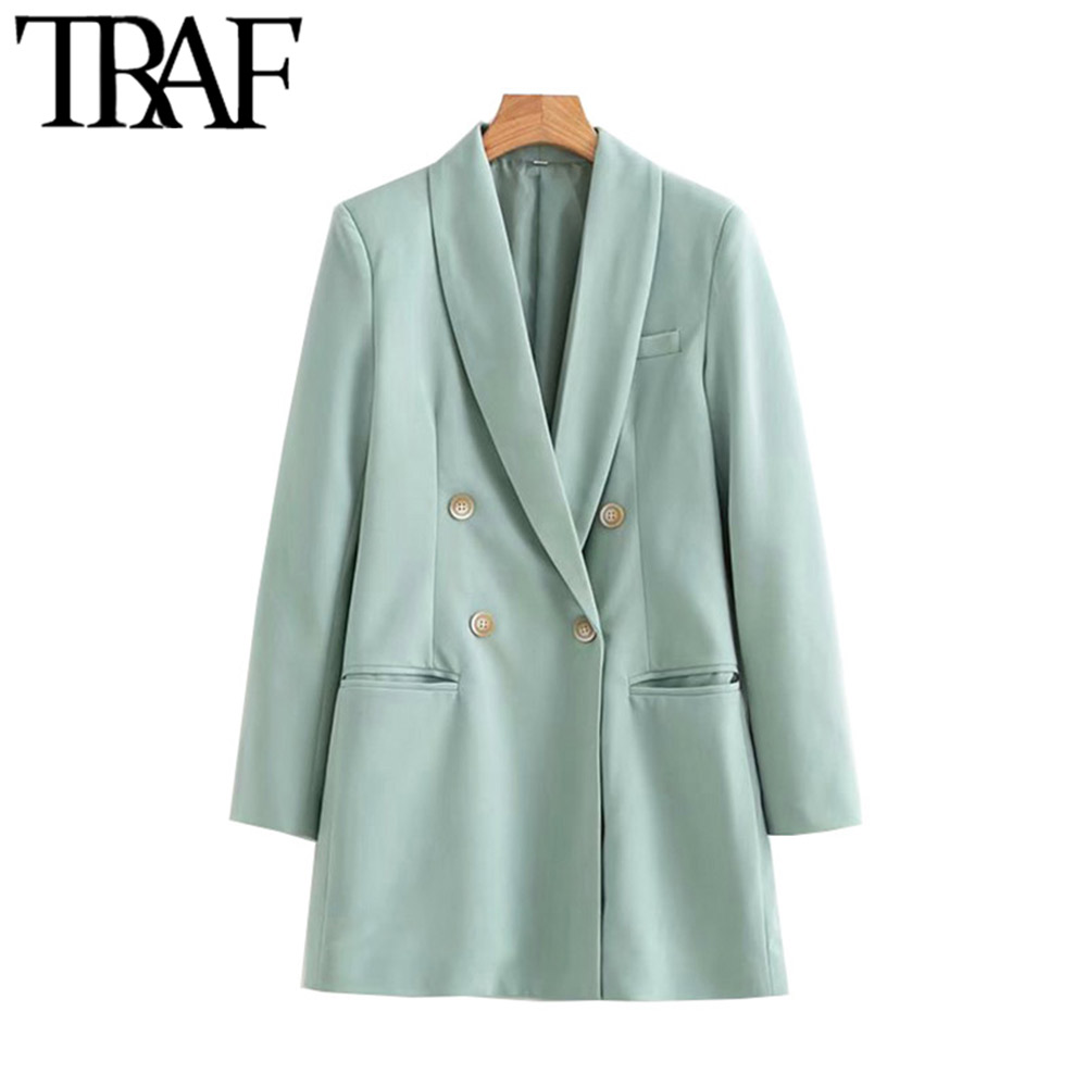 TRAF Women Vintage Office Lady Double Breasted Blazer Coat Fashion Long Sleeve Stylish Outerwear Chaqueta Mujer Chic Tops