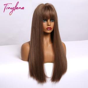 Image 3 - 小さなlanaオンブル茶色ブロンドロングストレート合成かつら女性のための前髪アフリカ耐熱ファイバー